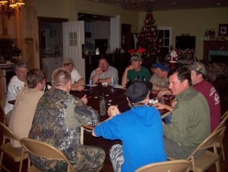 Red bluff lodge guys around table