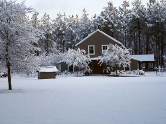 Red bluff lodge lodge front during winter