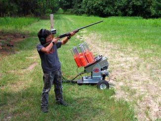 Youth shooter with new clay machine